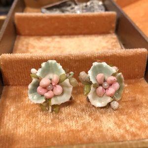 Vintage Green/Pink Floral Screw Back Earrings
